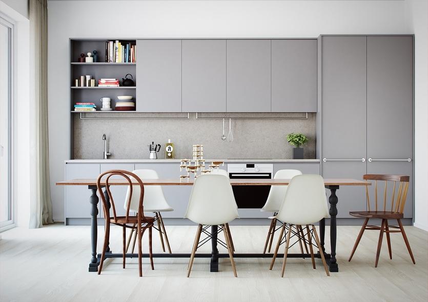 Лучшие идеи дизайна кухни в серо-белых тонах – фото реальных интерьеров и советы