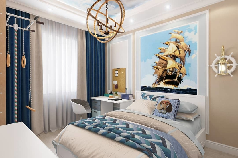 Картинки комнат в морском стиле мужу кусок