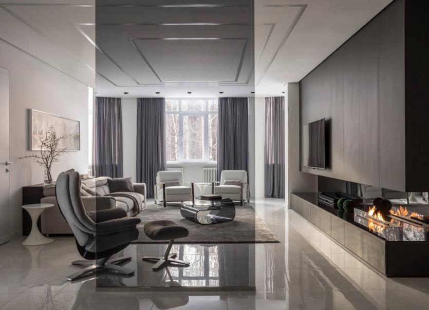 Дизайн гостиной в стиле хай-тек: 75 фото готовых решений + советы