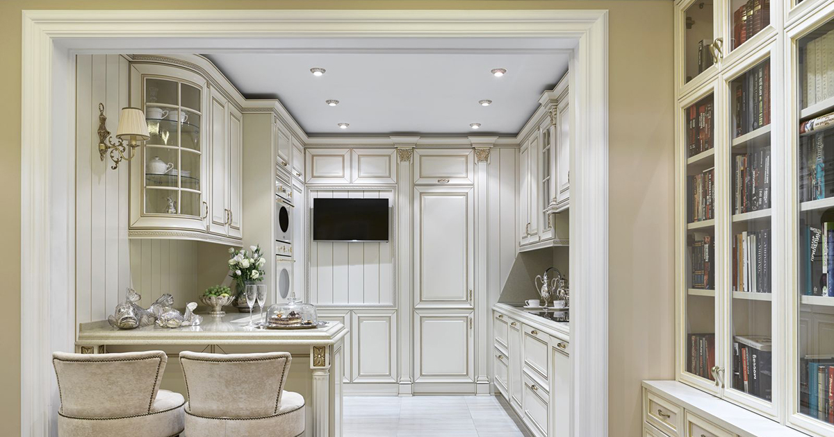 Цвета для кухни в стиле неоклассика 20 фото интерьер белой и серой кухни в стиле неоклассика дизайн комнаты в неоклассическом стиле в цвете слоновой кости